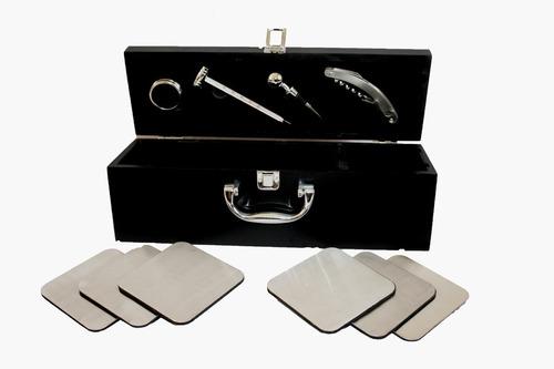set de accesorios vino en caja de madera con posa vasos