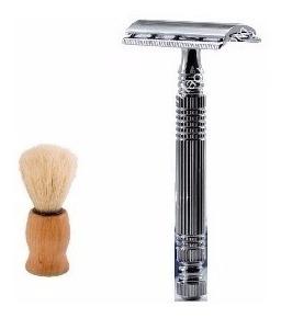 set de afeitar rasuradora clásica  + brocha de madera ypt