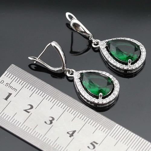 set de anillo collar y aretes zirconia esmeralda