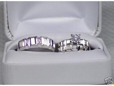 22ee3dfecc06 Set De Anillos De Matrimonio 14k Diamantes .26 Cts G Vvs2 ...