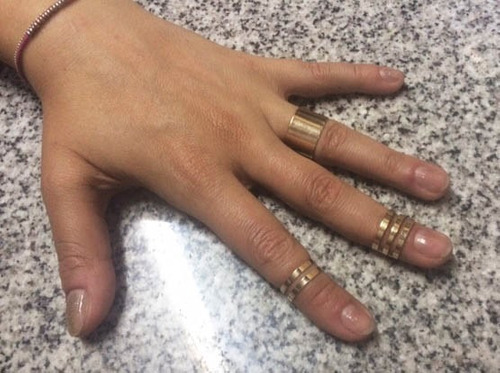 set de anillos de metal con baño color oro