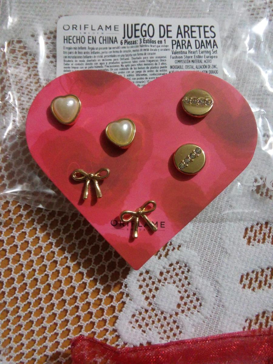 2731bd848352 Set De Aretes Valentina Heart Oriflame -   195.00 en Mercado Libre