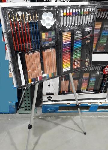 set de arte y dibujo estuche 162 pzs+ caballete daler rowney