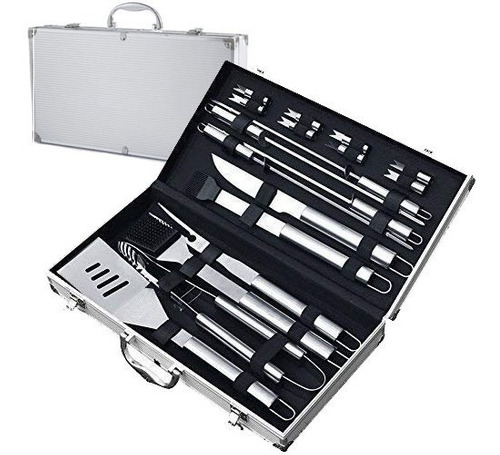 set de asado 19 piezas 17 estuche aluminio parrilla asador