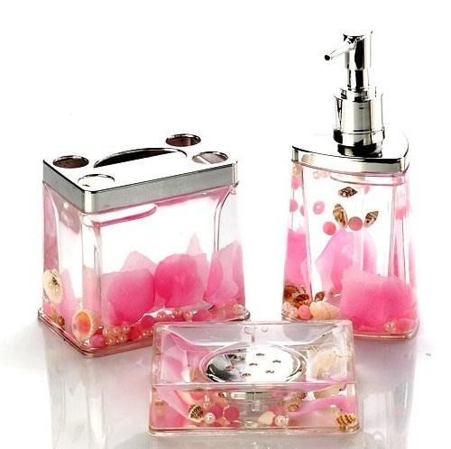 set de baño 3 pzas portacepillo dispenser jabonera rosas