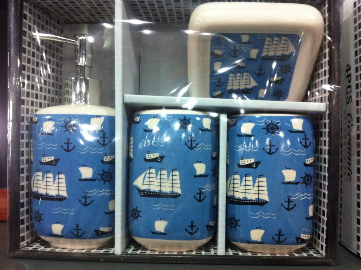 Set de ba o de cer mica 4 piezas con jabonera varios for Set para bano de ceramica