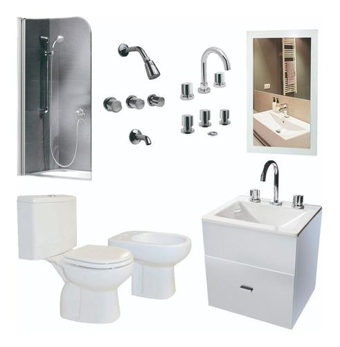 set de baño inodoro pringles griferia espejo y vanit- cuotas