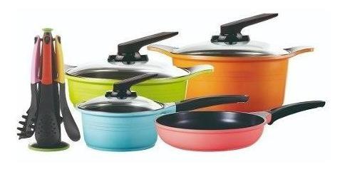 set de batería de cocina roichen 7 piezas + utensilios