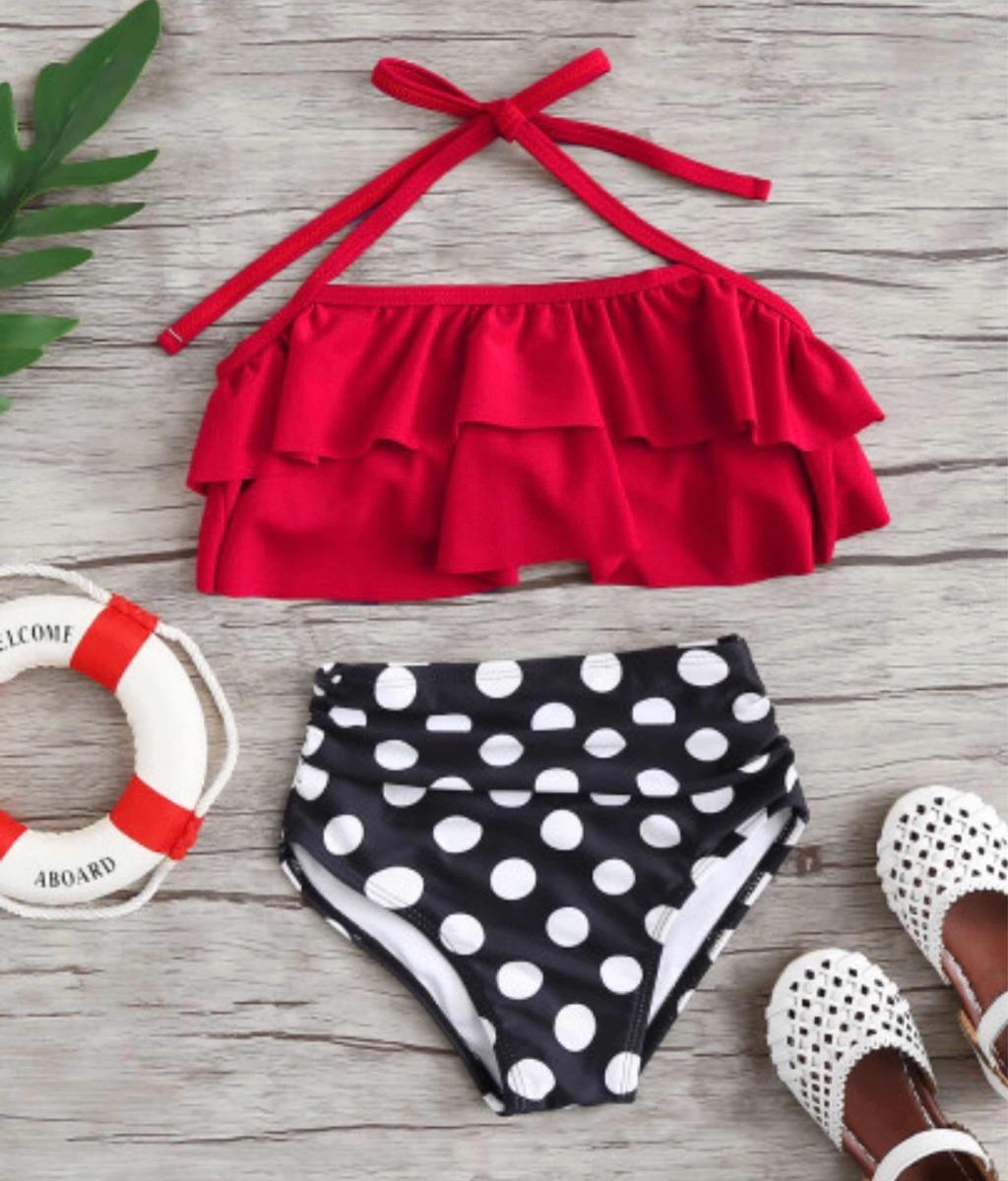 d5329489f Set De Bikini De Niñas Fruncido De Lunares Talla 4-5 -   290.00 en ...