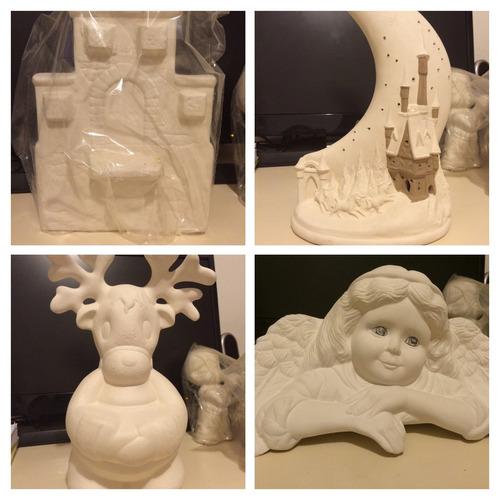 set de bizcochos de cerámica 20cm para pintar. navidad