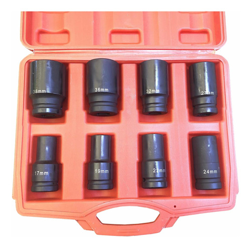 set de bocallaves 3/4 alto impacto - 8 pcs de 17 a 38 mm