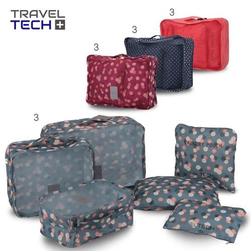 set de bolsas organizadoras de ropa valijas lisas estampadas