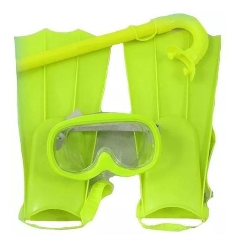 set de buceo infantil pata de rana snorkel y antiparras