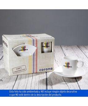 set de café de colombia de 4 puestos corona