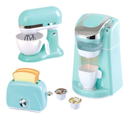 set de cafetera + batidora + tostador de juguete para niños