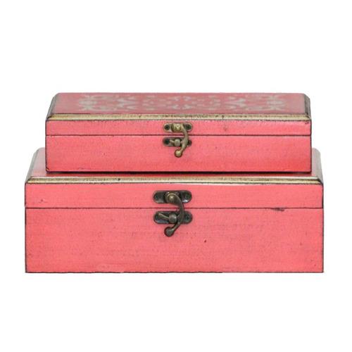 set de cajas decorativa 2 piezas madera decoracion bm home