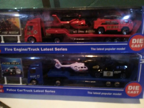set de carro camión helicóptero carritos metálicos juguetes