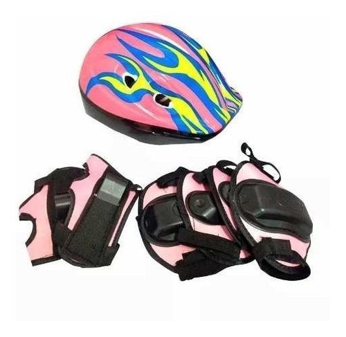 set de casco y protectores niños para bici patines skate ®