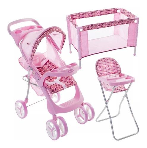 set de cochecito de muñecas kiddy practicuna silla de comer