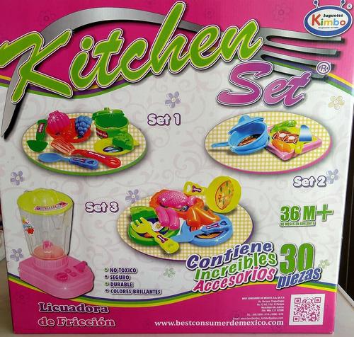 set de cocina con 30 accesorios y licuadora de friccion