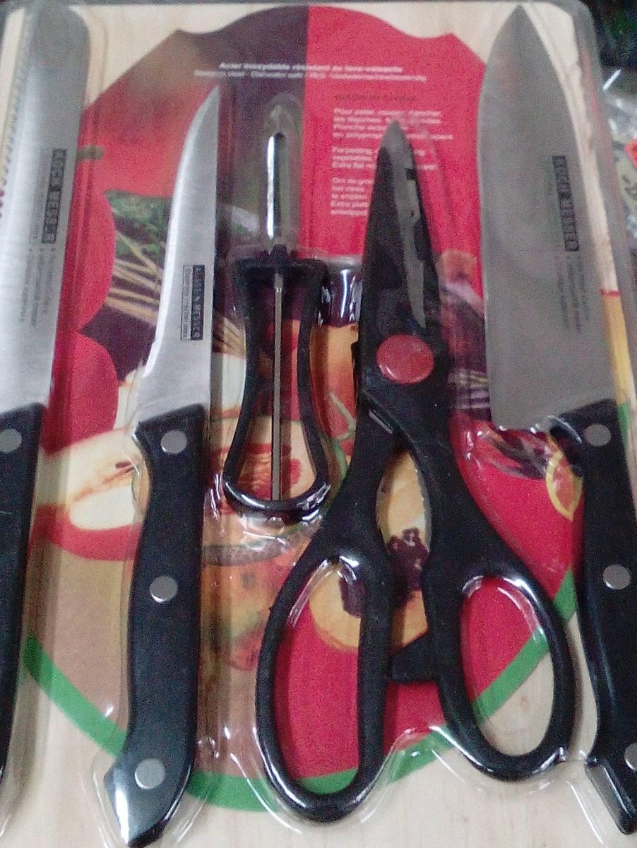 Set de cocina cuchillos tijera pelador de ortalizas y for Set cuchillos villeroy boch tabla