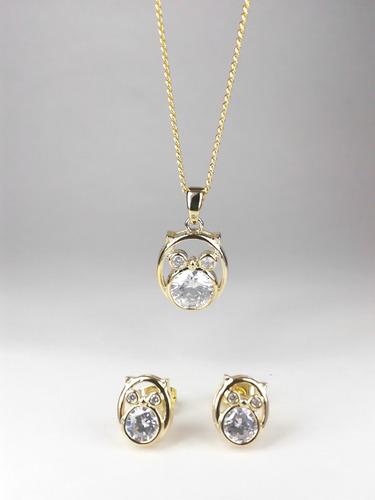 set de collar y aretes de buho oro laminado envío gratis