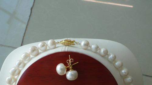set de collar y aretes de perlas blancas envio gratis!