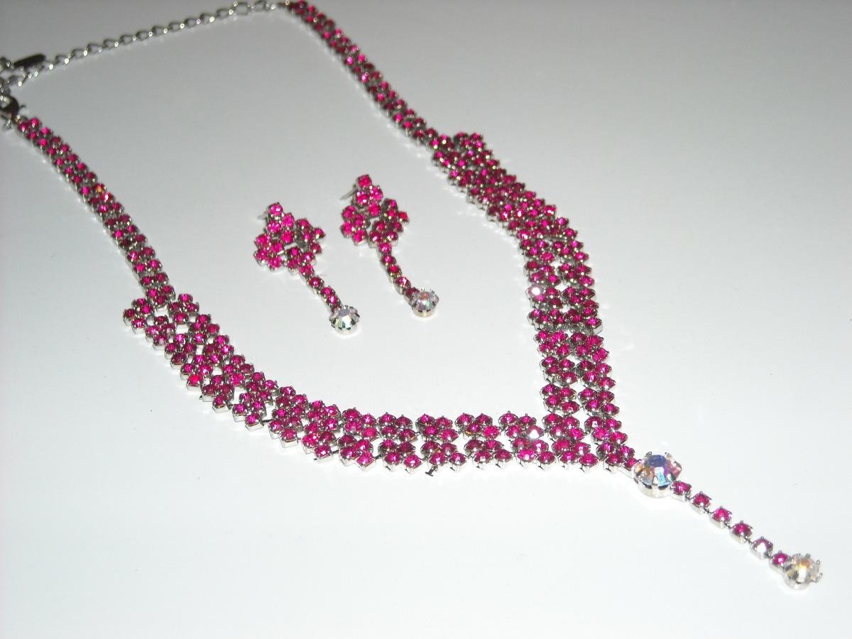 593253e92606 set de collar y aros de strass para fiestas bodas en fucsia. Cargando zoom.
