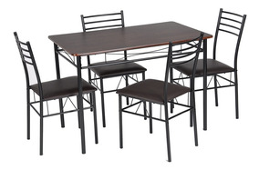 Set De Comedor Mesa 4 Sillas Madera Con Negro