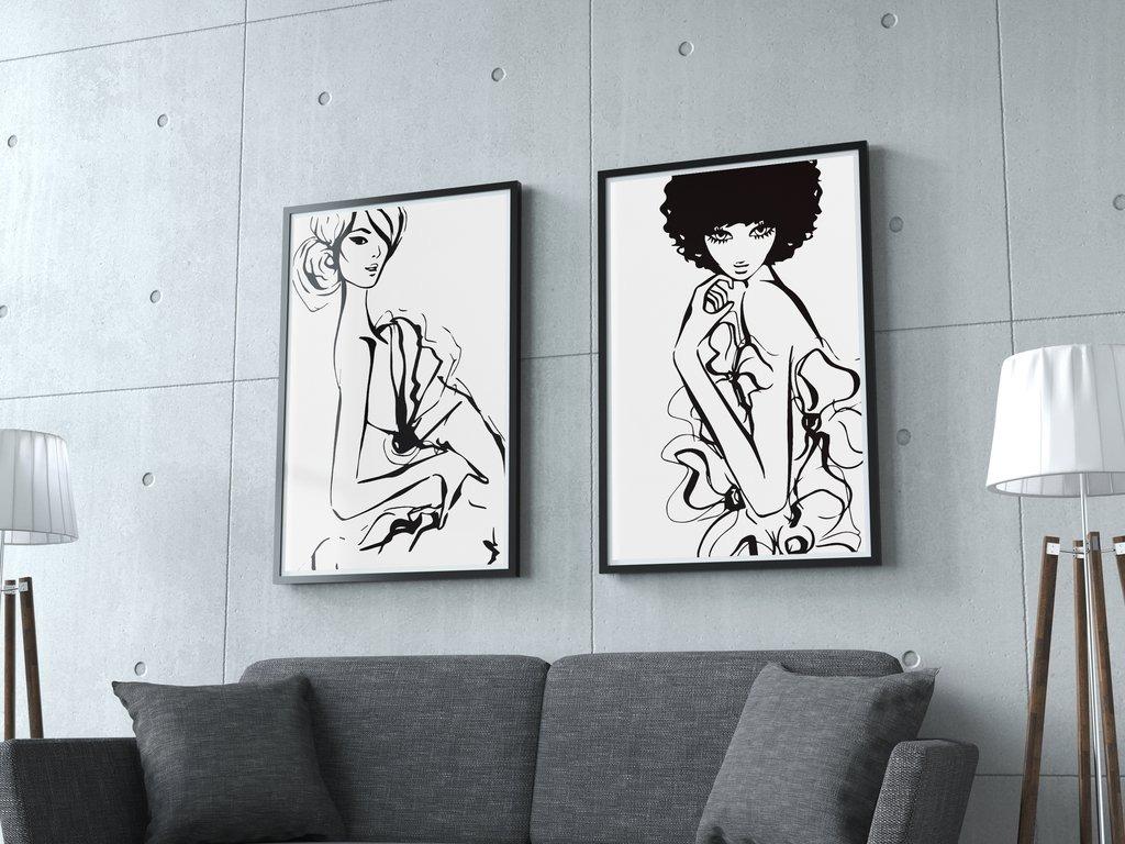 Set De Cuadros Decorativos Model Duo (20 X 30 Marco Madera) - $ 900 ...