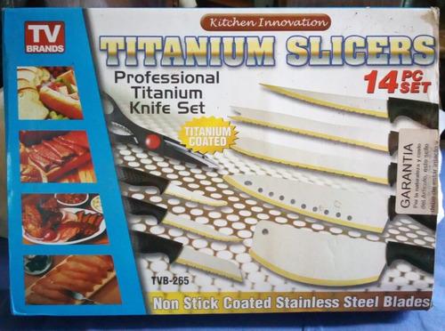 set de cuchillos 14 piezas. titanium profesional