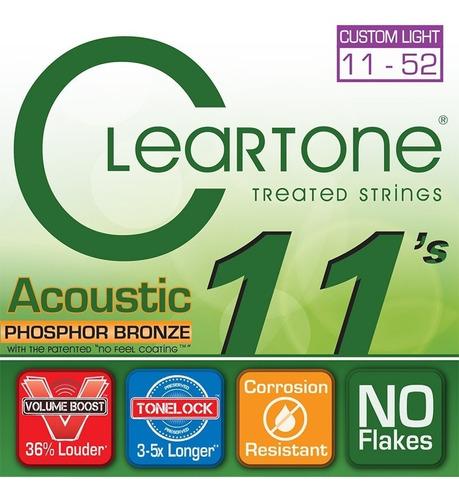 set de cuerdas para guitarra cleartone acoustic 11-52