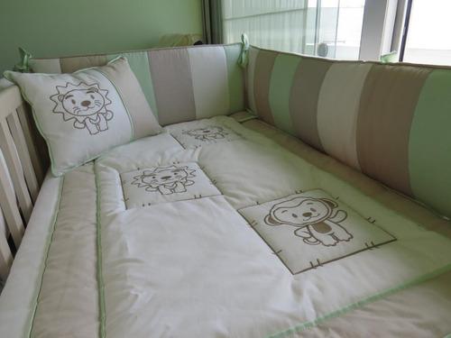 set de cuna diseños bordados y acolchaditos para el bebé