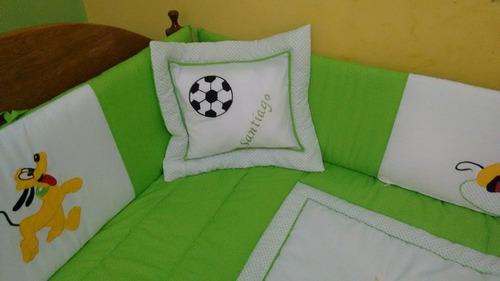 set de cuna disney: edredon+ 4 protectores+ sabanas+almohada