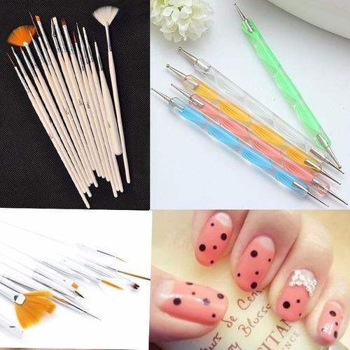 set de decoración de uñas 20 piezas. pinceles y punteadoras