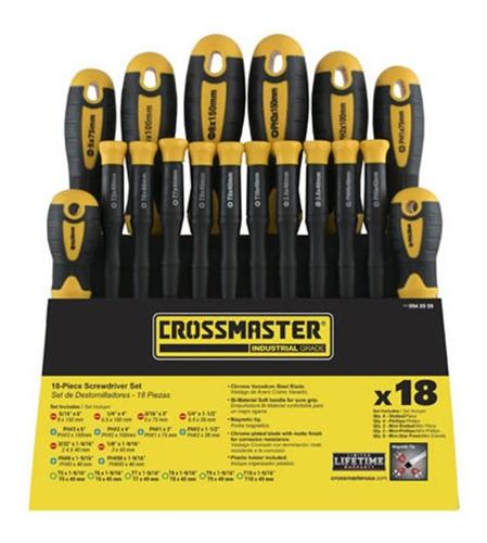 set de destornilladores crossmaster 18 piezas philips planos