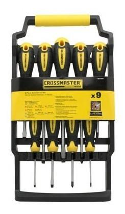 set de destornilladores x 9 unidades crossmaster 9940997