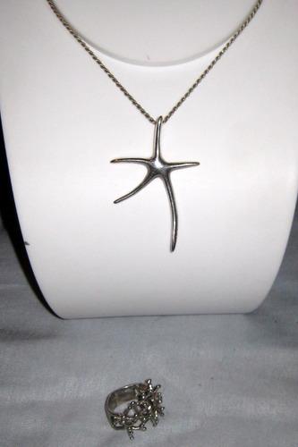 set de dije estrella marina y anillo de plata 925