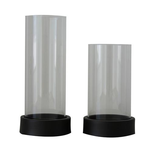 set de dos candelabros con vidrio