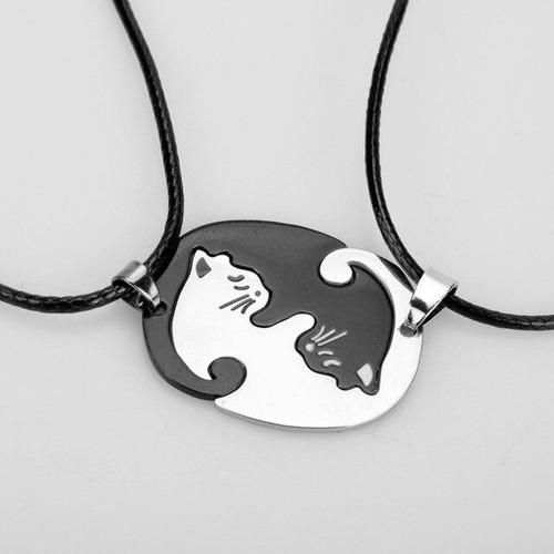 set de dos collares gatitos yin y yang doble pareja amistad
