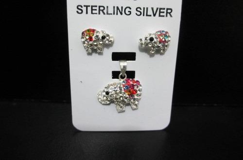 set de elefantes de plata con cristales de swarovski