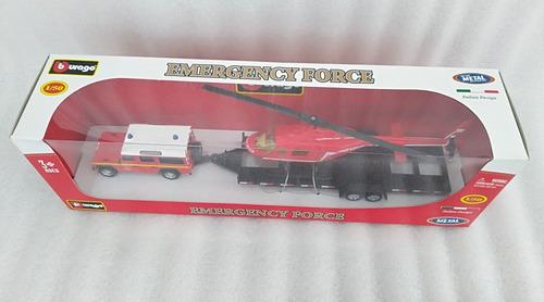 set de emergencias land rover y helicóptero escala 1/50
