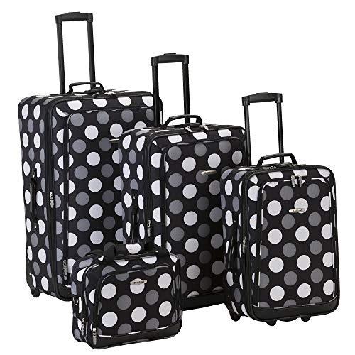 set de equipaje rockland luggage dot 4 piezas, punto negro,