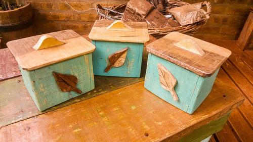 set de especieros madera mbarete artesanías