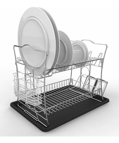 set de estante secador de platos con acabado cromado de 2