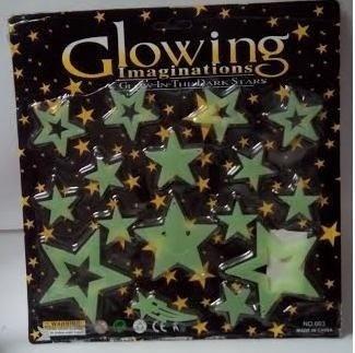 set de estrellas fluorescente para pegar en techo y pared