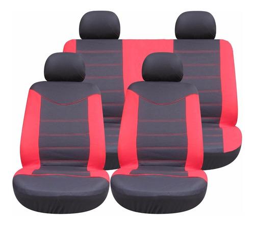 set de fundas cubreasientos para autos 8 piezas - negra/roja