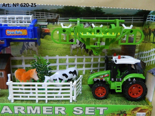 set de granja tractor, animales personajes