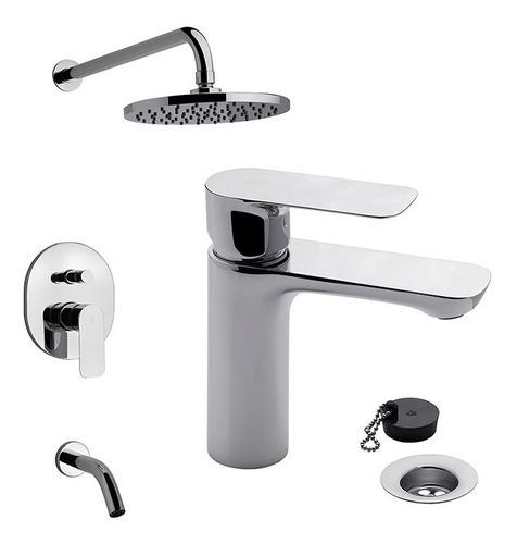 set de grifería monocomando para ducha y lavatorio coty fv