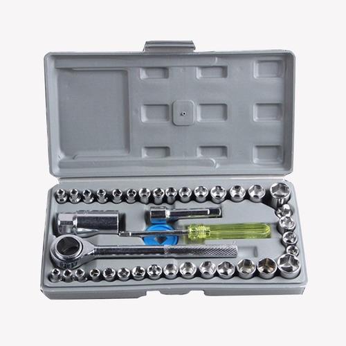 set de herramientas juego llave tubo kit 40 piezas + estuche
